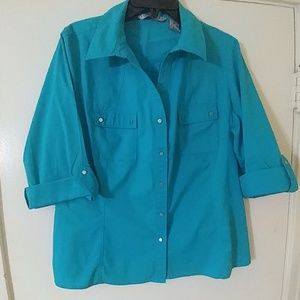 LARRY LEVINE SIGNATURE Turquoise Career Top XL
